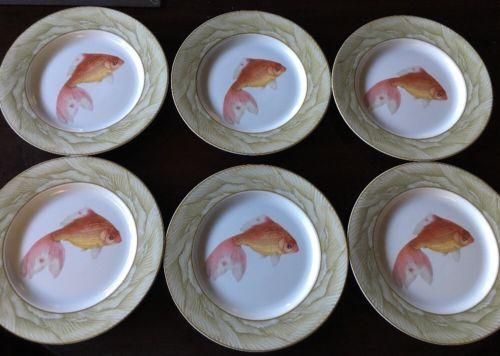 Mottahedeh Winterthur Adaptation Waterdance Fish Porcelain Plates Set of 6