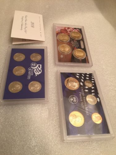 2008 United States Mint Silver Proof Set W/ St Quarters Presidential Dollars COA