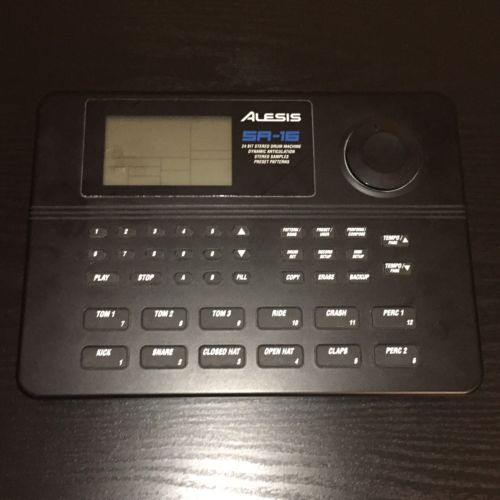 Alesis SR-16 Drum Machine with Power Supply, Manual, and Sound Charts.