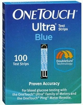 One Touch Ultra Blue diabetic test strips 100 exp 03/2018  sealed