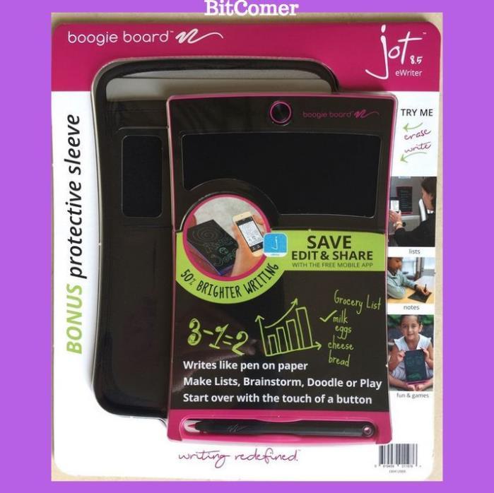 Boogie Board Jot 8.5 LCD eWriter Writing Tablet Pink + sleeve +Stylus