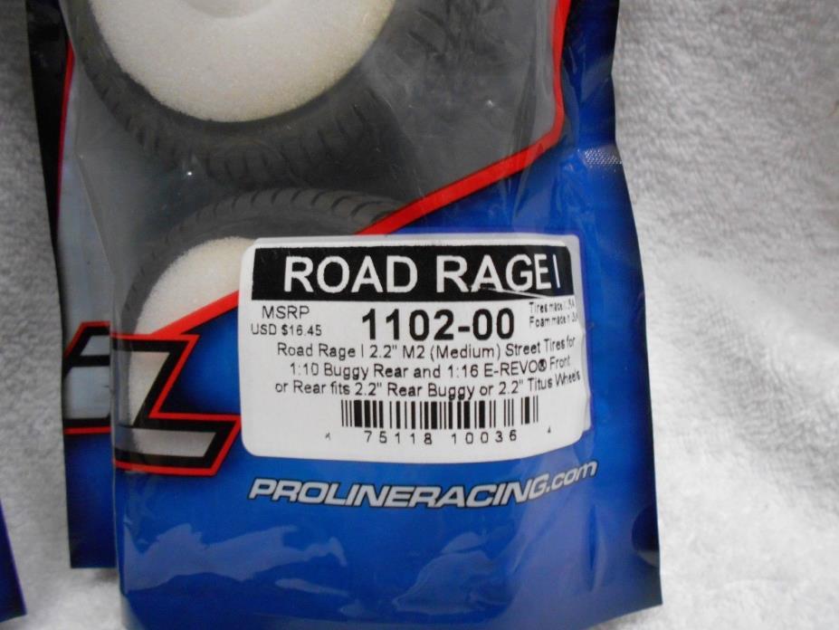 2 sets ProLine Road Rage 2.2 Street Tires 1/10 buggy & 1/16 e revo 1102-00 NEW