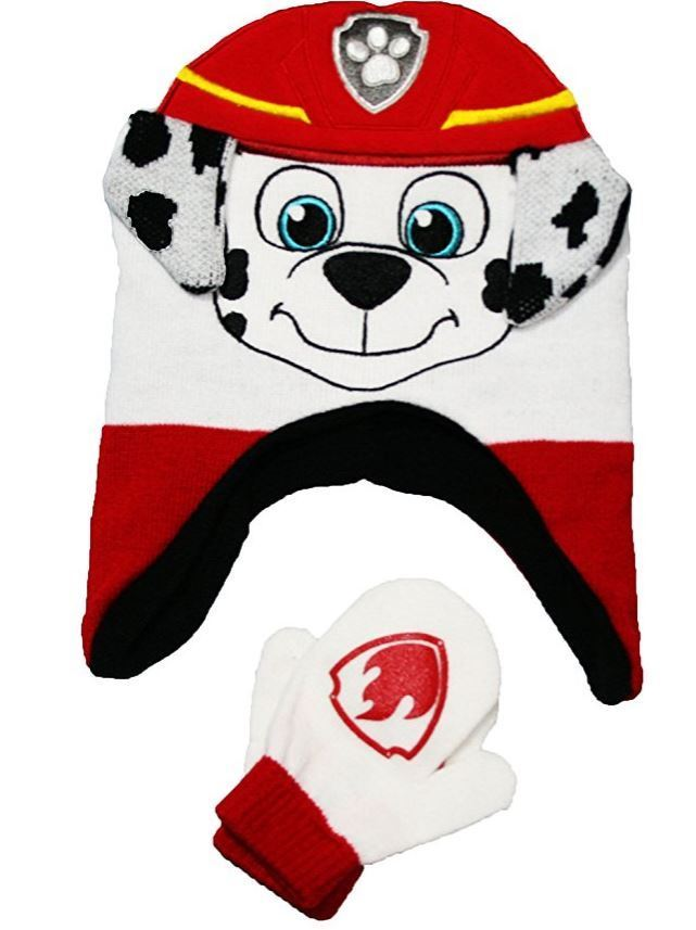 Nickelodeon Paw Patrol Marshall Boys 2 PCRed Hat & Mittens Set Size Toddler NWT