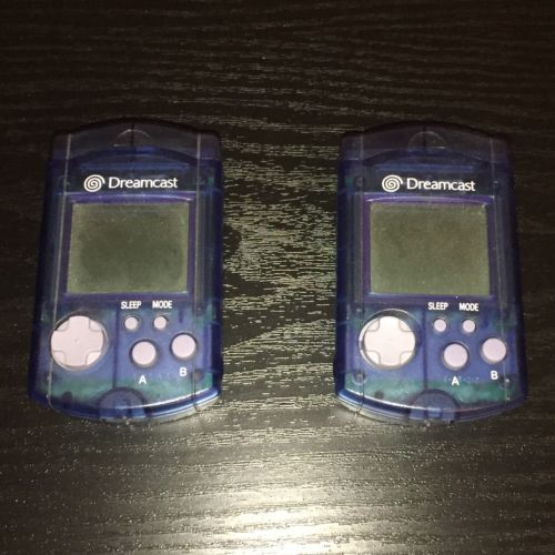 Official Blue Dreamcast VMU Visual Memory Unit (Two Total)