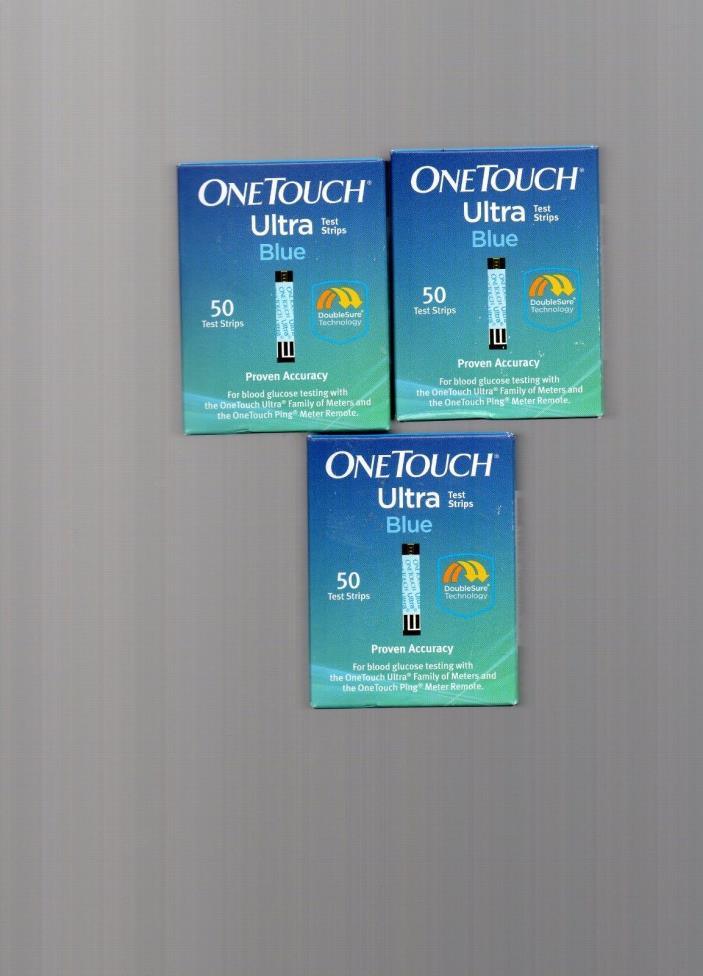 150 ONETOUCH ULTRA BLUE  BLOOD GLUCOSE TEST STRIPS exp 04/06/30/2018 NEW SEALED