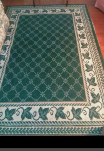Formal Floor Rug. Dark Green and Cream 11' by 7'. Recently steam cleaned