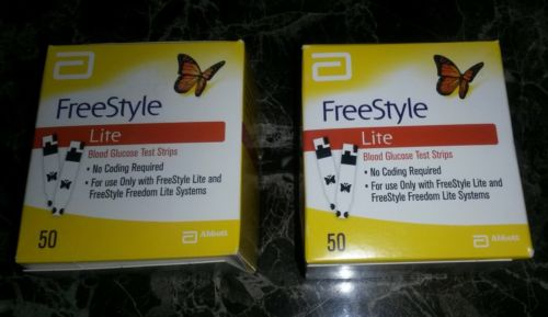 2 Boxes of 50 FREESTYLE LITE DIABETIC TEST STRIPS... EXP 07/2018 & 08/2018
