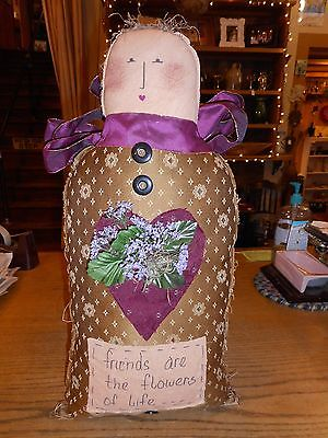 Folk Art - Primitive - Country Cloth Doll (Friends are the Flowers of Life)