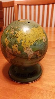 Vintage Ohio Art Tin Litho World Globe Coin Bank Metal
