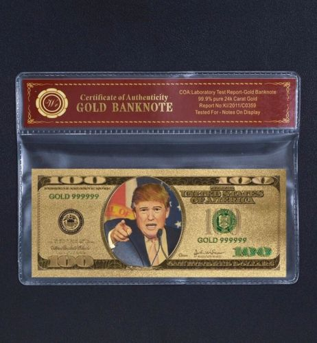 Donald Trump $100 Gold Plated 24k Dollar Bill!
