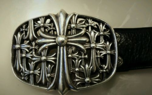 Authentic Limited Chrome Hearts Sterling Silver Buckle Cemetery Cross 34 Belt