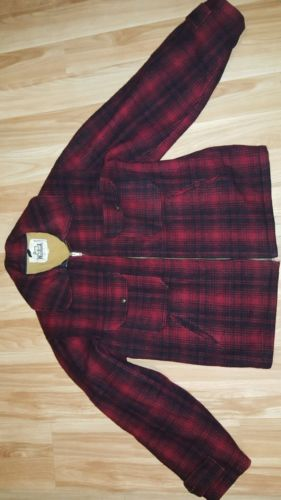 VTG. 1950s WOOLRICH Woolen Mills sz40 #503 Red Plaid Hunting Mackinaw Jacket