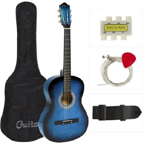 Guitar Acoustic Blue Kids Beginner New 6 String 38 Black Pick Case Strap Tuner