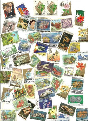 Cook Islands Collection Pulled from Stamp Hoard  53 Mint/Used Mostly Different
