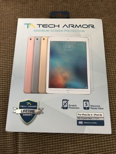 NEW 2PK Tech Armor HD Clear Screen Protector for Apple iPad Air 2 / iPad
