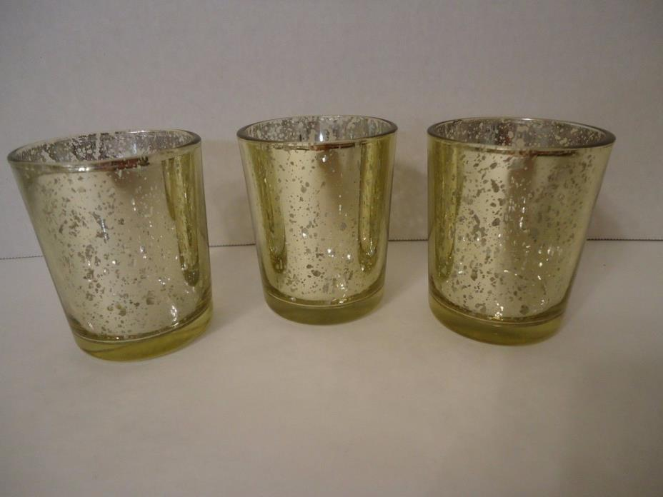 Rustic Glass Votive Candle Holder Gold Set of 3 - Votive or Tealight Candle