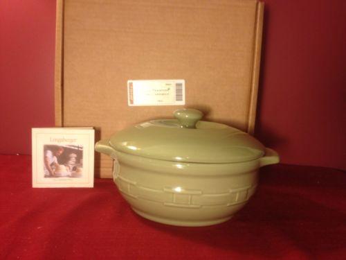 Longaberger WOVEN TRADITIIONS ~SAGE Pottery ~ 4 QUART CASSEROLE w/LID~SAGE~NEW!
