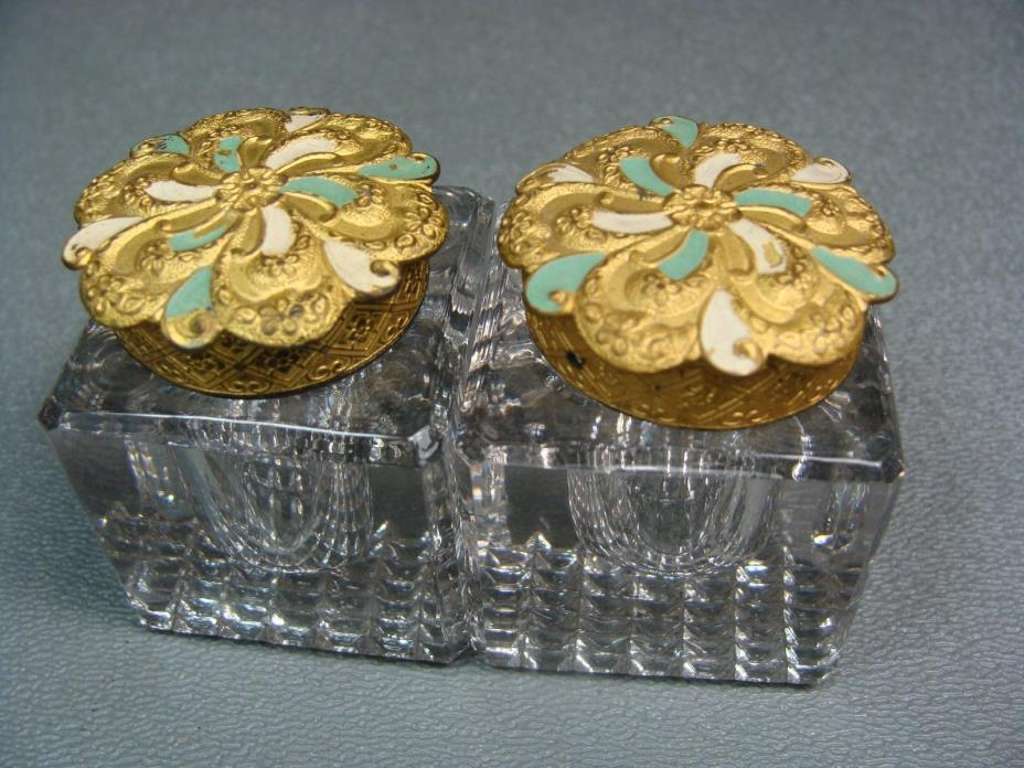 Antique Pair of Glass Inkwells w Gold metal & Enamel Lids