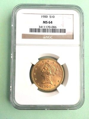 1900 US Gold $10 Liberty Head Eagle NGC MS64 Rare in grade!!! low mintage 293000