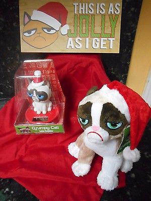Solar Powered Grumpy Cat Bobble Head, Plush Toy + Wall Plaque + FG! NIP!
