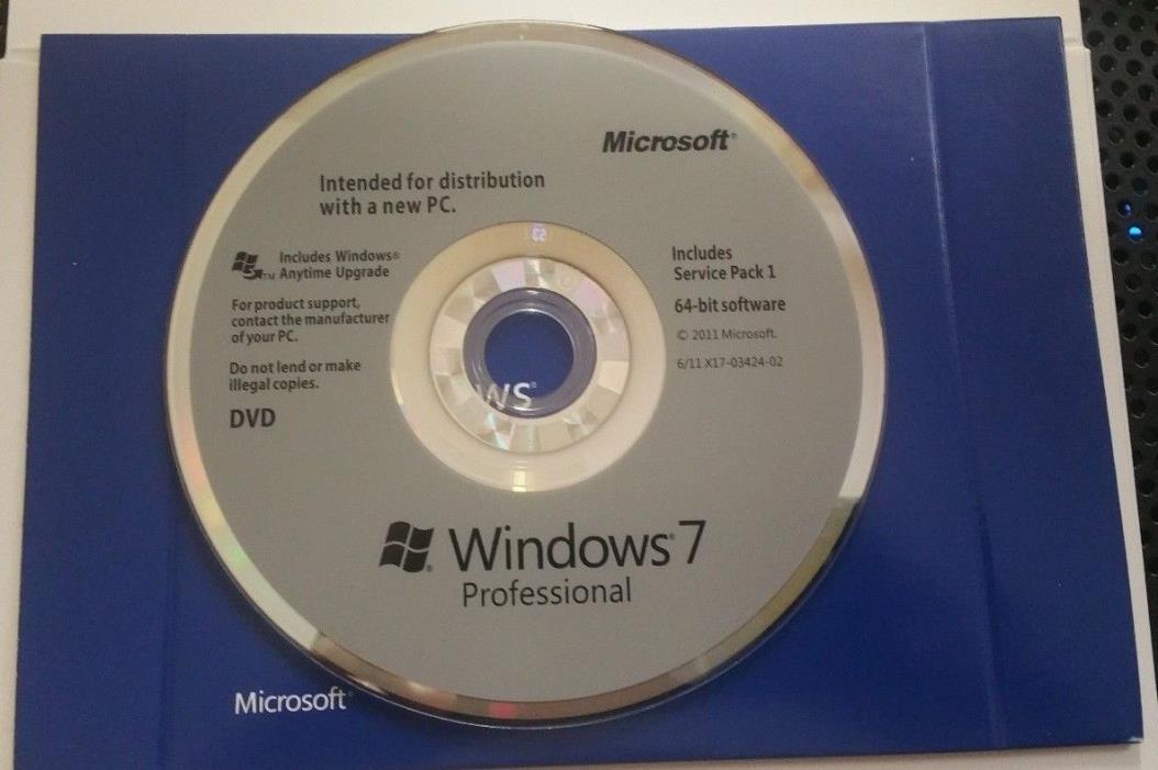 Microsoft Windows 7 Professional SP1 64bit (OEM) System Builder Sealed