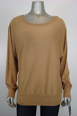 INC International Cpts Women's Gold Shimmeryy Scoop Nk Knit Top XL