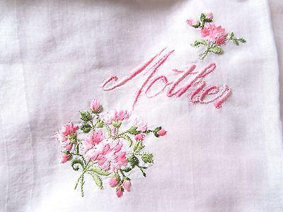 Vintage Antique collectible Mother Handkerchief Pink Flowers linnen Nice