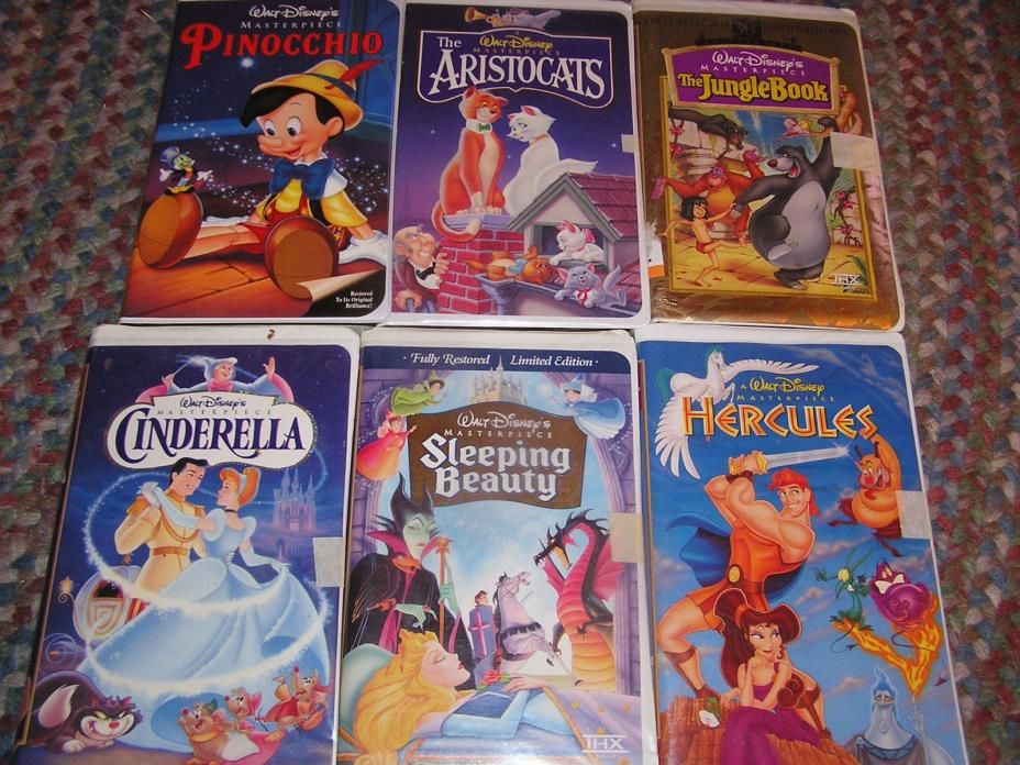 6 Walt Disney Masterpiece VHS Movies Tapes Videos Clamshell Case