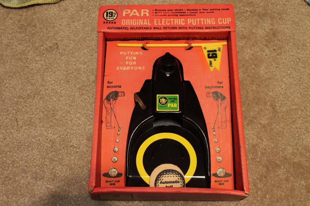 VINTAGE and RARE 1968 19TH HOLE PAR ORIGINAL ELECTRIC PUTTING CUP-NEW OLD STOCK