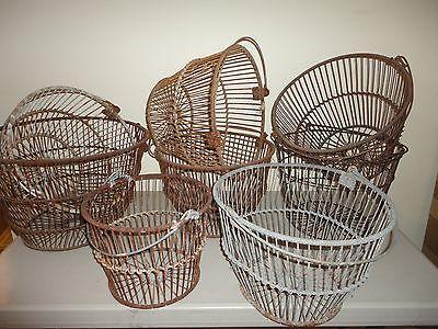 Vintage Lot 8 Wire Cape Cod Clam / Fish Baskets