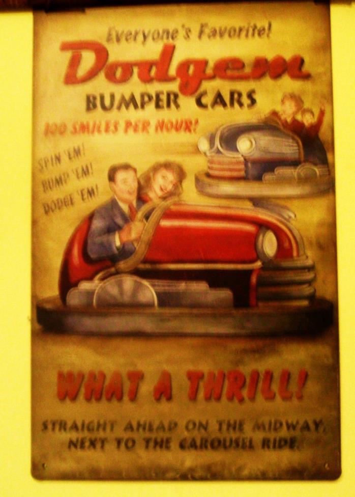 TIn Amusement Park Dodgem Bumper Cars sign