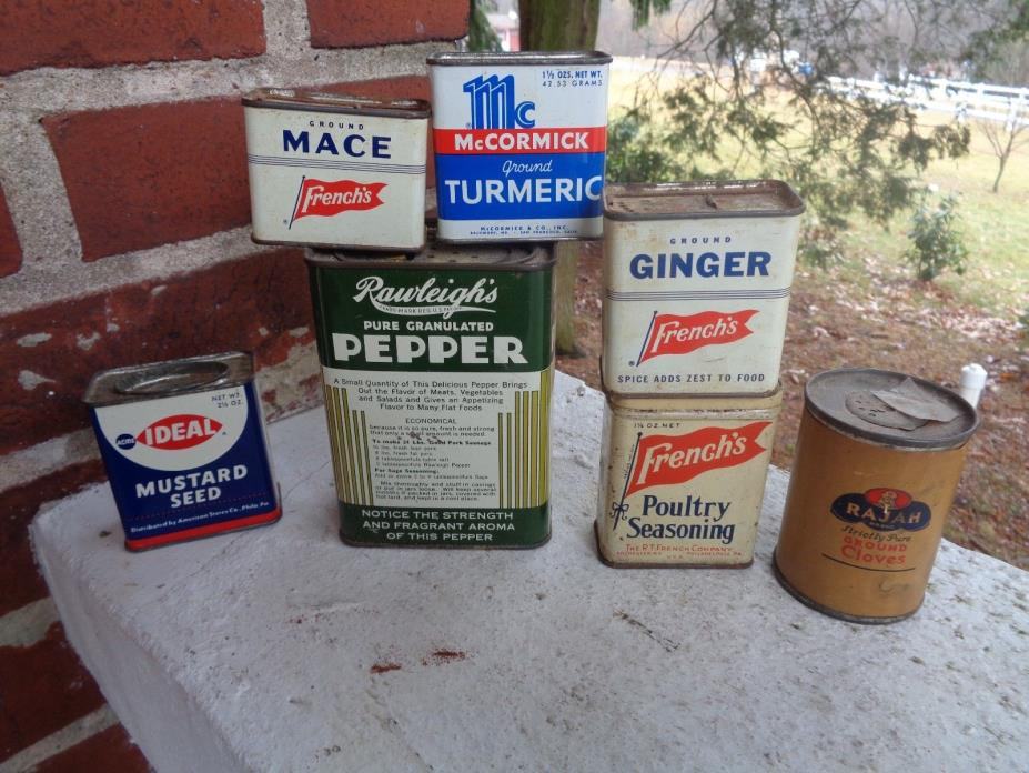 VINTAGE LOT OF 7 SPICE TINS TIN CAN MCCORMICK RAWLEIGH'S MCCORMICK FRENCHS IDEAL