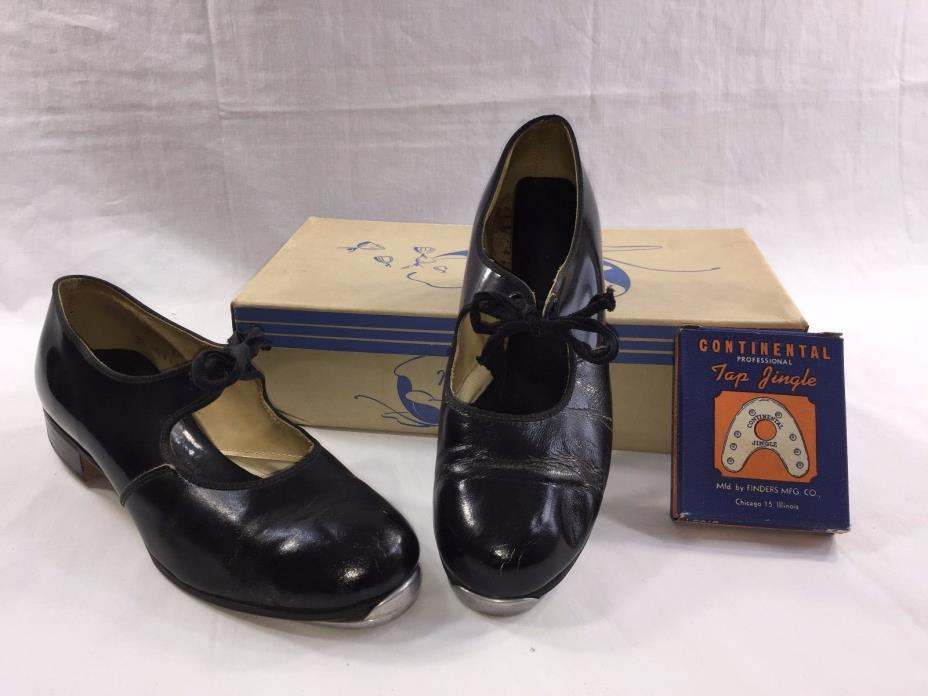 Vntg 1951 Ladies TAP SHOES Monte Carlo BLACK PATENT w/ extra taps & orig box1374