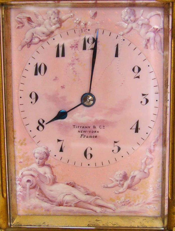 RARE & WONDERFUL!!  TIFFANY Carriage Clock (French) with enamel art panels, 1895