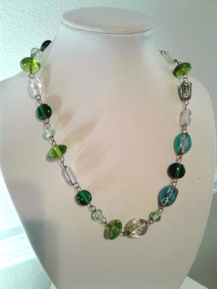 vintage necklace Venetian Murano Glass Beads greens, blues, translucent foils