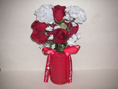 Valentine's Day Red & White Roses Vase / Mailbox Decor