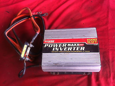 USED POWER INVERTER 1500 WATT 12V DC TO 120V AC POWER ON BOARD SST W/ CABLES