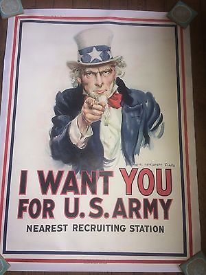 ORIGINAL I WANT YOU FOR US ARMY WWI POSTER