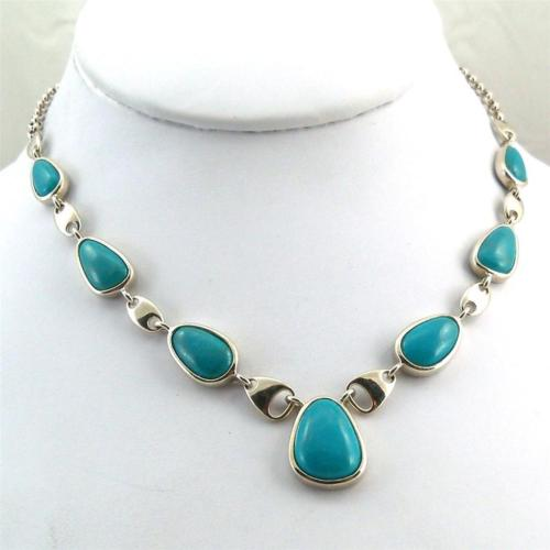 Sterling Silver Faux Blue Turquoise Necklace