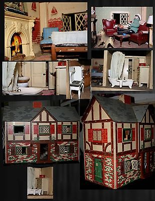 antique 1940's lithographic doll house furnished ''Captains Tudor''