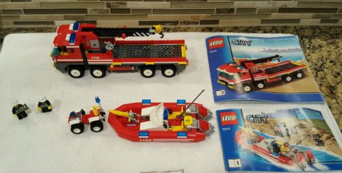 LEGO City Off-Road Fire Truck & Fireboat (7213) Complete Set and 4 Wheeler