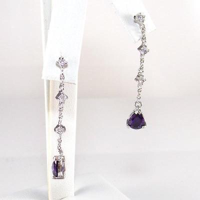 Sterling Silver Purple Amethyst Clear CZ Linear Dangle Earrings
