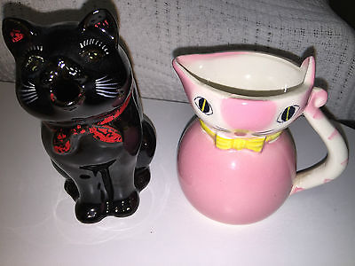 ANTIQUE PITCHERS * Lot of 2 * CAT KITTEN Themed MILK Pitchers KittyCat