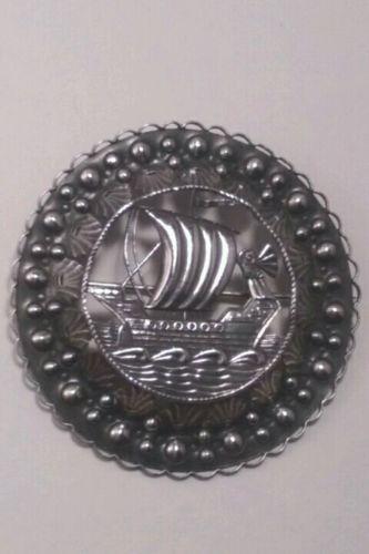 Antique Estonian Silver Viking Ship Pin Brooch