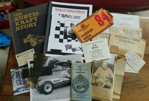 1950s Indianapolis 500 racer Duke Dinsmoor signed Kraft Merkel books programs
