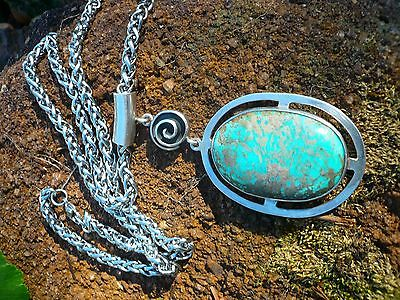 FOUR INCH BRILLIANT BLUE TURQUOISE , HEAVY STERLING PENDANT NECKLACE
