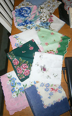 VINTAGE HANKIES HANKY HANKERCHIEFS LOT 10 FLORAL PRINTS ESTATE NICE