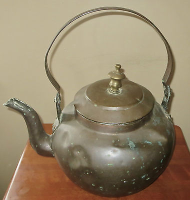 ANTIQUE VERY LARGE COPPER COFFEE/TEA POT/KETTLE