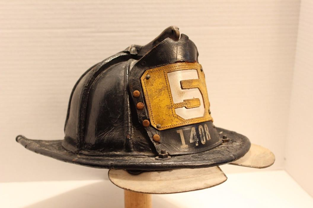 Disbanded FDNY Squad 5 Leather Fire Helmet SALTY