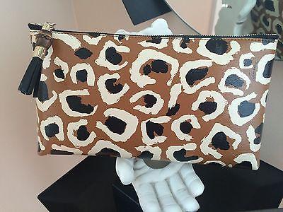 Gucci 338815 Tobacco Bamboo Leopard Leather Cheetah Print Clutch Pouch Bag $998